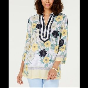 CHARTER CLUB PRINTED EMBROIDERED SPLIT NECK TUNIC